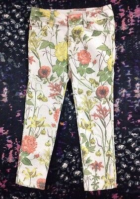 Zara Girls Floral Jeans Pants Size 4-5