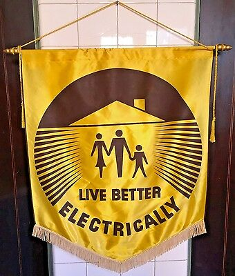 """Large Vintage 1950s MCM Yellow Satin """"Live Better Electrically"""" Banner Flag Sign"""