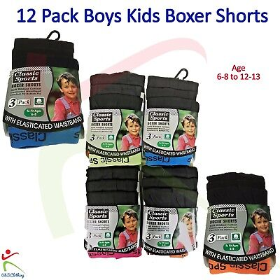 12 Pack Boys Kids Classic Sports NEON BOXER SHORTS Easy Wear Age 2 -13 Years Lot