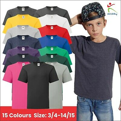 Children's Kids Boys Sofspun® T T-Shirt Plain Short Sleeves Tee Shirt Top Lot