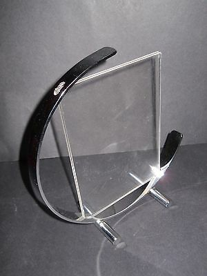 Vintage Art Deco Chrome Lucite C Shaped Picture FRAME Machine Age Modern