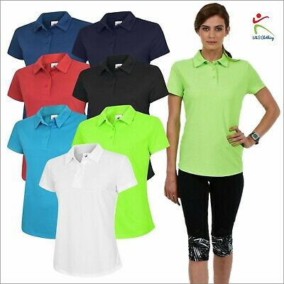 Women's Ultra Cool 100% Polyester Polo shirt Sports Casual Work Gym Ladies TOP