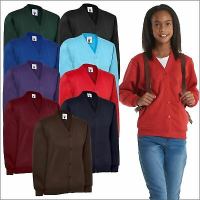 Children's Cardigan Button Up Sweatshirt Jumper Girls School Uniform Top Lot