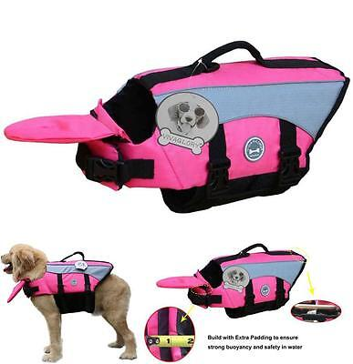 Dog Life Jacket Pink Ripstop Preserver Boat River Lake Extra Padding for Pets