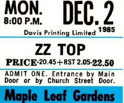 ZZ Top Vintage 1985 Unused Concert Ticket - Afterburner Tour. Maple Leaf Gardens