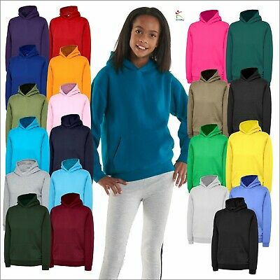 Childrens Plain Hooded Sweatshirt Kids Hoodie Boys Girls Pullover Jumper Top Lot