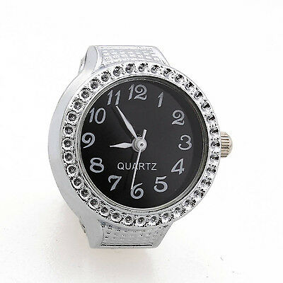 Ring Watch Quartz Silver Alloy Black Sphere for Women Dame PK