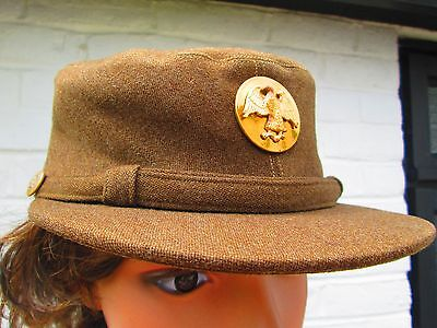 Original WW2 WAAC WAC Winter Members Service Cap Hobby Hat OD Cap Sz 21 ½ ""