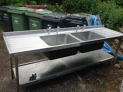 Commercial large twin kitchen sink and taps stainless steel