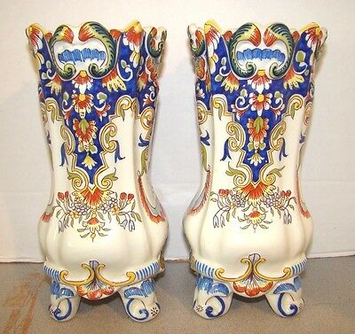 Fourmaintraux Desvres French Faience 2 Vases