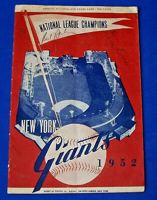 1952 Ny Giants Earle Combs & Red Barber Signed Program Scorecard Jsa Loa Y41216