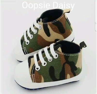 Baby Boys Cute Combat Trainer Shoes - Camouflage Baby Shoes
