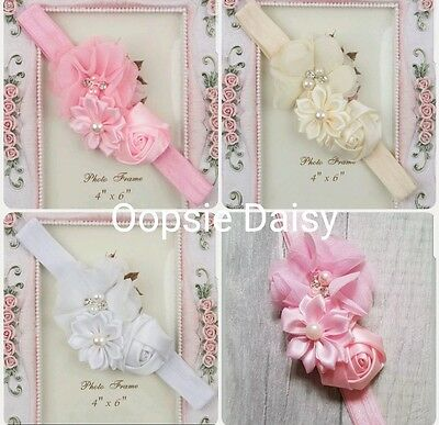 New Baby Girls Roses & Pearls Headbands age 6 mths - 2 yrs - Christening Party