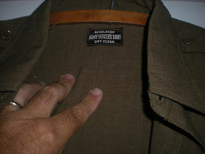 Orig. Ww2 O.d. Wool Officer Shirt Size 16-34 X-Large & Cutter Tags Unissued 1944
