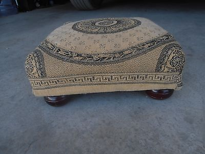 "Antique Needlepoint Tapestry Foot Stool  Measures approx. 4.5H x 12.5"" x 12.5"""