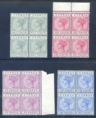 Cyprus Queen Victoria 1892-4 die 2 ½p-2p mint unmounted blocks 4(2017/06/12#21)