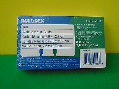 """100 Genuine Rolodex C35  WHT 3 x 5"""" Rotary Refill Cards New & Sealed"""