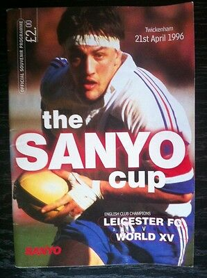 LEICESTER v WORLD XV 1996 SANYO CUP RUGBY PROGRAMME