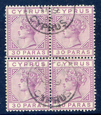 Cyprus Queen Victoria 1882-6 30pa die 2 block 4 used (2017/06/12/#13)