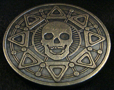 PIRATE BOOTY  - Brass 1oz Antiqued Skull and Compass Medals - Lost Treasure Coin