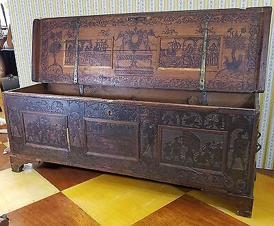 Antique 16th c. Italian Venetian Cedar Penwork Cassone Chest Trunk