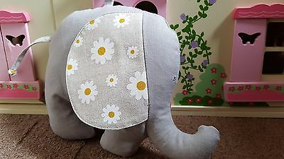 Handmade,light natural with daisies soft toy elephant or lovely room decoration