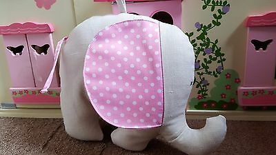 Handmade,dark grey with pink eaers soft toy elephant or lovely room decoration