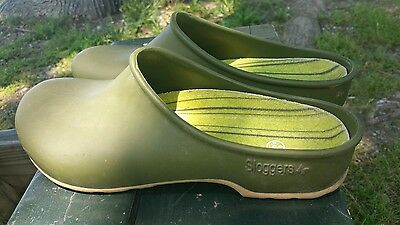 Sloggers Garden Yard Clogs Shoes Rubber Soles Army Fatigue Green Women's Size 9
