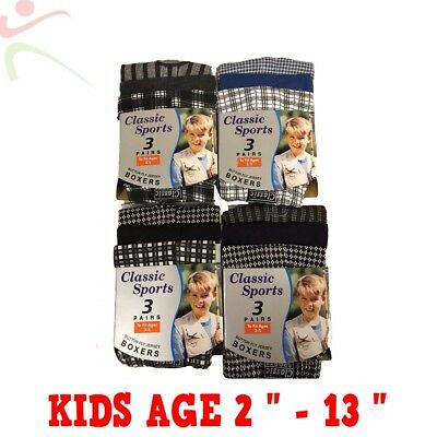 12 Pack Boys Kids Cotton Jersey Check Stripe Boxer Shorts Pants Age 2 -13 Lot