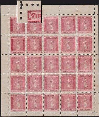 VIRGIN ISLANDS QV 1866 Issue 6d SG3a Large 'V' in Cplt Never Hinged Pane of 25