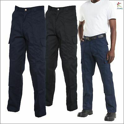 Mens Combat Cargo Work Wear Trousers With Knee Pads Pockets Pants Black Navy Lot