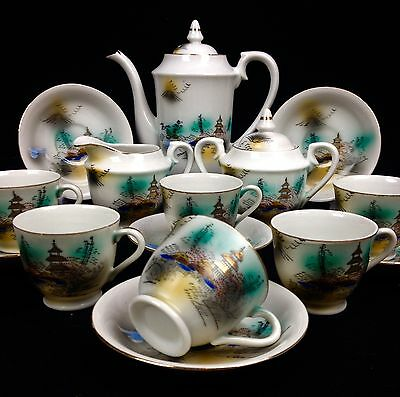 Chinese Vintage Porcelain Tea Set Very Decorative Set Lady Face In Base
