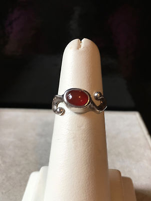 Vintage Sterling Silver Ring with a Carnelian Stone