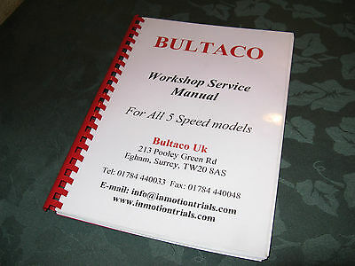 Bultaco workshop service manual - for all 5 speed models