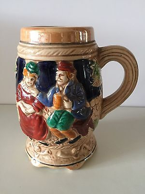 Vintage Hand Painted Porcelain Tankard with a man and lady on