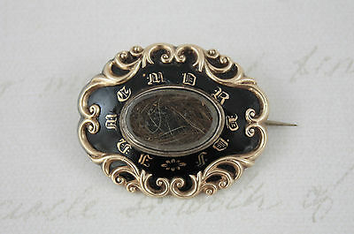 Victorian Black Enamel Mourning Brooch Hair In Memory Of Gold Plated Antique