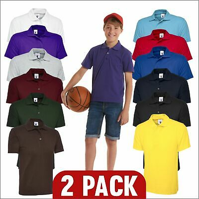 (2pcs) Children's Polo Shirt Kids School Summer Top PE Collared Boys Girls TOP