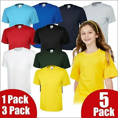 41ecb19f Uneek Kids T-Shirt Boys Girls 100% Cotton Regular Fit Blank Crew Neck Summer