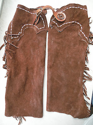 Boys Vintage All Leather Cowboy Chaps Fringed Zip Up Belted Handmade Excellent