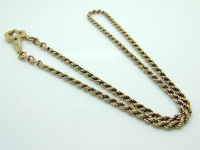 Antique Victorian Rope Twist Gilt Metal Short  Length Necklace/Pendant Chain
