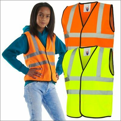 Kids Hi Vis High Viz Sleeveless Vest Children's Boys Visibility Safety Waistcoat