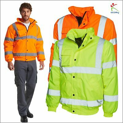 Unisex Hi Viz High Vis Visibility Two Tone Bomber Jacket Coat Work Wear Top Lot