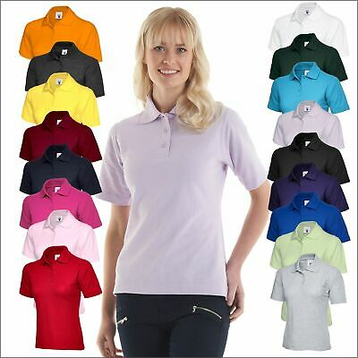 Uneek Women's Classic Poloshirt Ladies Plain Short Sleeve T-Shirt Polo Tee TOP T