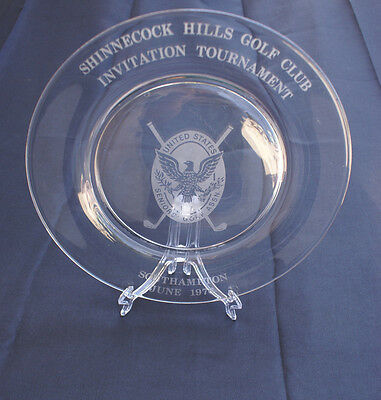 Tiffany & Co. Thick Glass Etched Shinnecock Hills Golf Club Trophy Plate