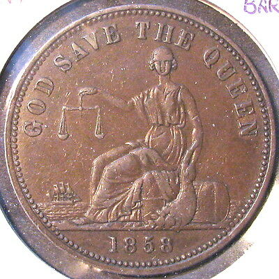 1858 NEW ZEALAND Charles C. Barley merchant token; High Grade--Judge Yourself