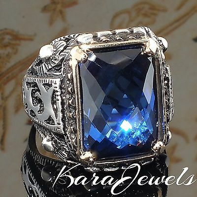 925 Sterling Silver Mens Ring Blue Sapphire Unique Handmade Turkish Jewelry 10