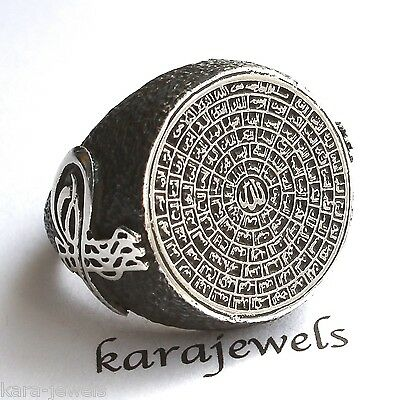Islamic Mens Ring 925 Sterling Silver 99 Names of Allah Asma ul-Husna