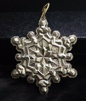 1971 Gorham Sterling Silver Snowflake Christmas Ornament in Pouch/Box