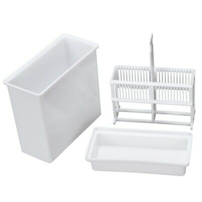 2 in 1 White 24 Pieces Microscope Slides Staining Rack Dish Set PK