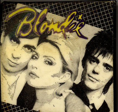 "BLONDIE 1979 square button 2 inches  ""Eat To The Beat"""